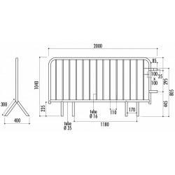 Schéma barrière Vauban 2m 14 barreaux