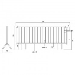 Taille de barrière de sécurité 18 barreaux