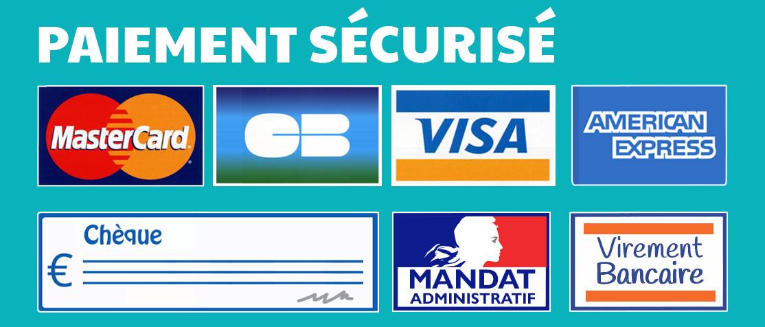 logo de paiment visa, carte bleue, virement bancaire, mandat